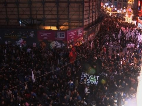 Raw: Thousands Protest Bombing Attack in Turkey