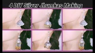 4 DIY silver jhumkas making at home