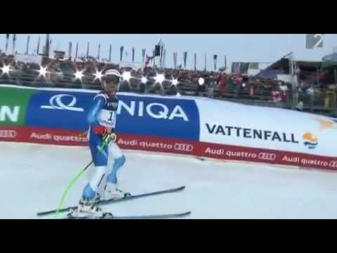 Sandro-Viletta-competes-with-worker-on-the-track-Downhill-Schladming-11-2-2013-Super-Combination