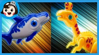 [A dda dda Toys] dinosaur Lambeosaurus VS Ophthalmosaurus, Dino mecard battle (for kids)