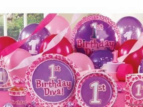 Baby girls first birthday party supplies youtube for Baby girl birthday party decoration ideas
