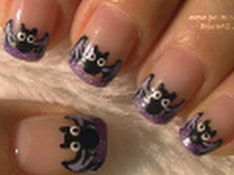 Bat French Tip Halloween Nail Art Tutorial