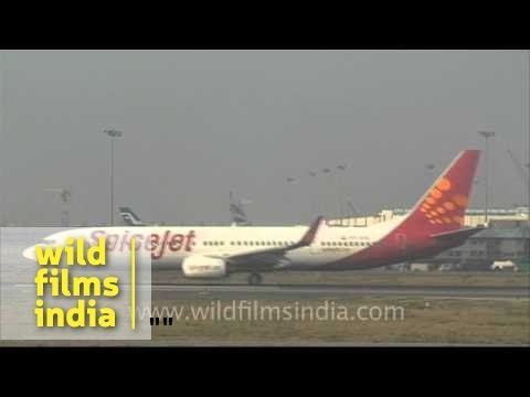 Spicejet plane taxiing off from tarmac at Delhi airport