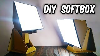 How to make DIY LED SOFTBOX LAMP from Cardboard at HOME