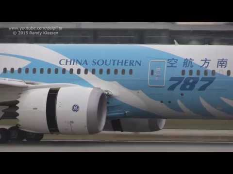 China Southern B787-8 landing and takeoff at YVR Vancouver