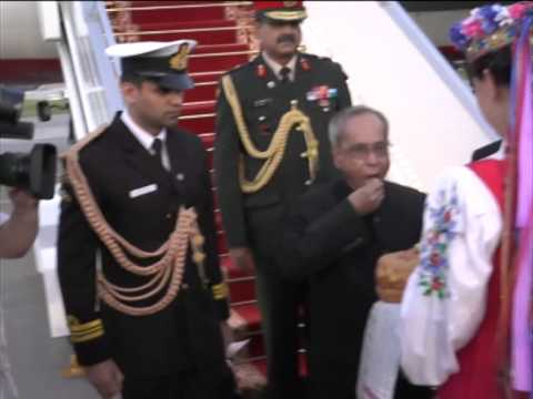 Indian President Pranab Mukherjee in Belarus on bilateral visit
