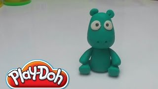 Play Doh Green Cute Hippo  - How to Do - DIY - Play with Clay