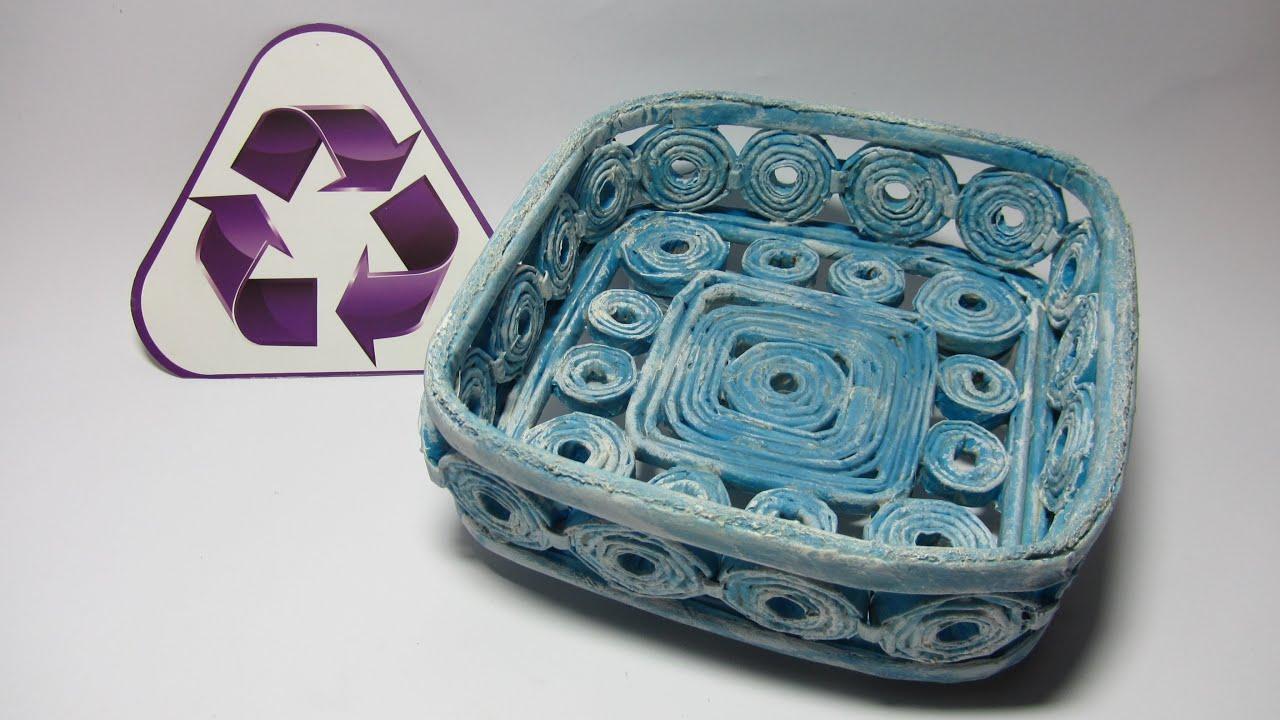 Reciclaje cesta cuadrada hecha con periodicos basket - Cestas de papel de periodico ...
