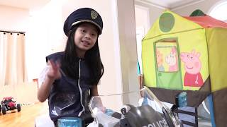 Pretend Play Police LOCKED UP Kaycee in Jail Playhouse for STREET RACING