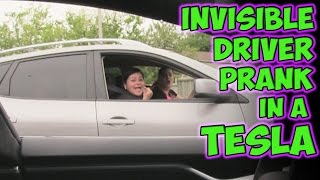 Invisible Driver Prank In A Tesla!
