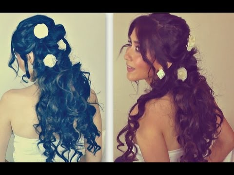 ★ROMANTIC CURLY HOMECOMING HAIRSTYLES UPDOS HAIR TUTORIAL FOR LONG HAIR  HOW TO CURL YOUR HAIR  PROM