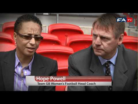 London Olympics 2012 soccer draw - Stuart Pearce, Seb Coe & Kelly Smith react