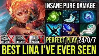 EPIC Pure Damage Scepter Lina Mid Destroy Cancer Trashtalk Jugg Disaster Game BEST LINA EVER DOTA 2