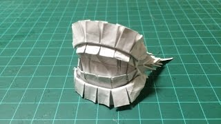 How to make  Origami Tooth Mask Part1 折り紙で「歯」の折り方パート1