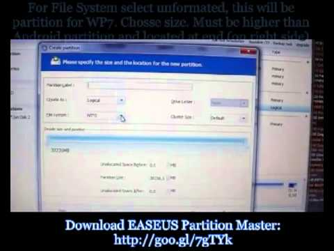 Video tutorial HTC HD2 how to WP7 and Android dual boot with one SD card