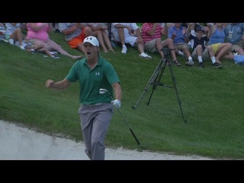 In the final round of the 2013 John Deere Classic, Jordan Spieth one-hops a 44-foot bunker shot for birdie on the par-4 18th hole to force a playoff with Dav...