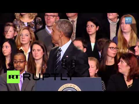 "USA: ""Sorry, Mr. President, but that has been a lie!"" - Obama heckled"