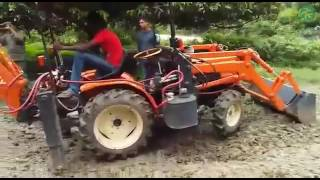 Loader with back hoe operation using 22hp tractor-VST Shakti