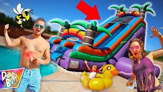 STUNG BY BEES on World's Biggest WATER SLIDE! 💥 (CAUGHT ON CAMERA!)