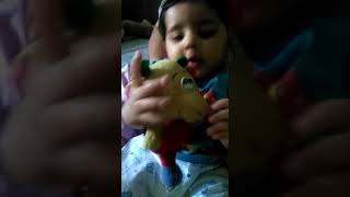 Ekam playing with soft toys at home