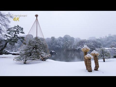 [4K Ultra HD] Snow Japanese Garden (Rikugien) Tokyo 六義園の雪景色