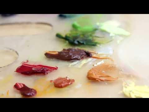Omar Ortiz pintando inmune a la moda II oleo sobre lino