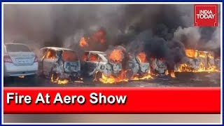 Fire Outside Aero India Show Venue In Bangalore; About 100 Cars Gutted In Fire