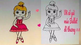 Hướng dẫn vẽ CHIBI CÔ BÉ MÚA BALLET || How to draw a cartoon Ballerina || HUYỀN MERRY