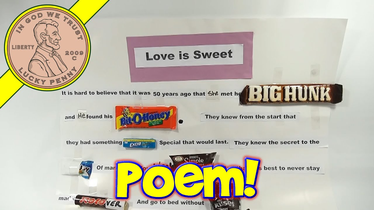 Love Is Sweet Poster - Edible Candy Poetry With Popular ...
