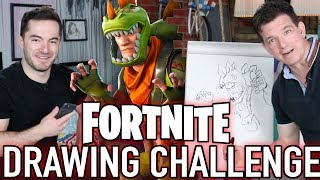 Blind Video Game Drawing Challenge ft. CaptainSparklez (God of War, Overwatch, Fortnite)