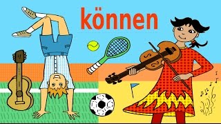 "Deutsches Modalverb ""können"" - Sport + Musik - German for children"