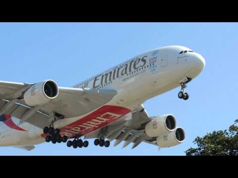 Emirates Airbus A380-800 [A6-EEQ] landing in LAX
