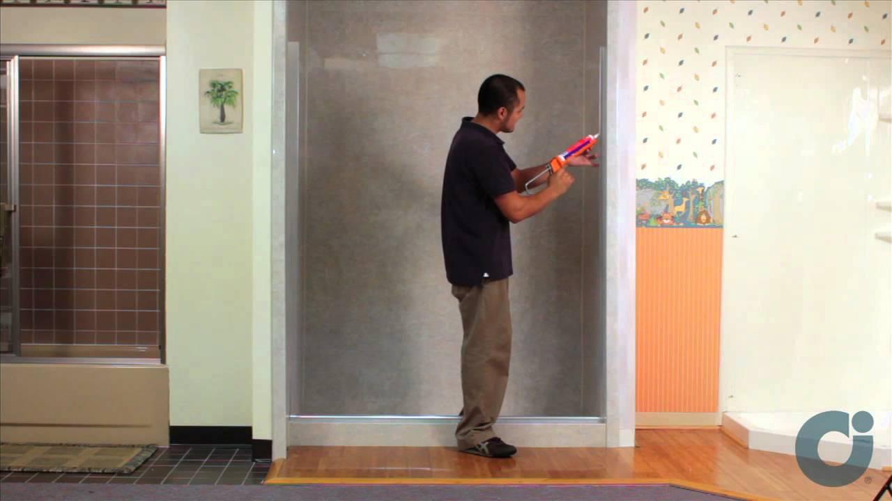 Frameless Shower Door Install Inline Panel