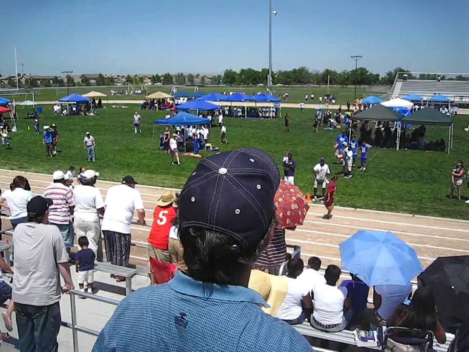 Participates in a 50 Meter Dash at Cesar Chavez High School in Stockton
