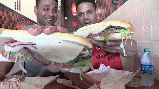 Search of the best sandwich ever | jimmy johns gargantuan sandwich @Hodgetwins