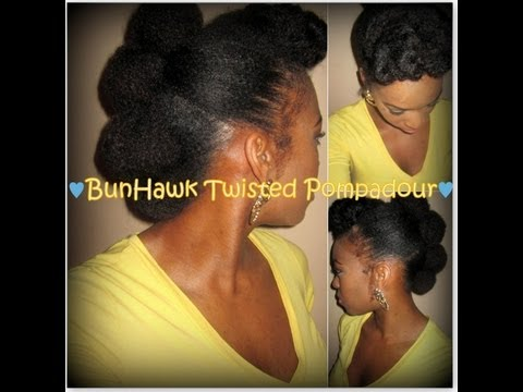 Protective Style | BunHawk with Twisted Pompadour on Natural Hair