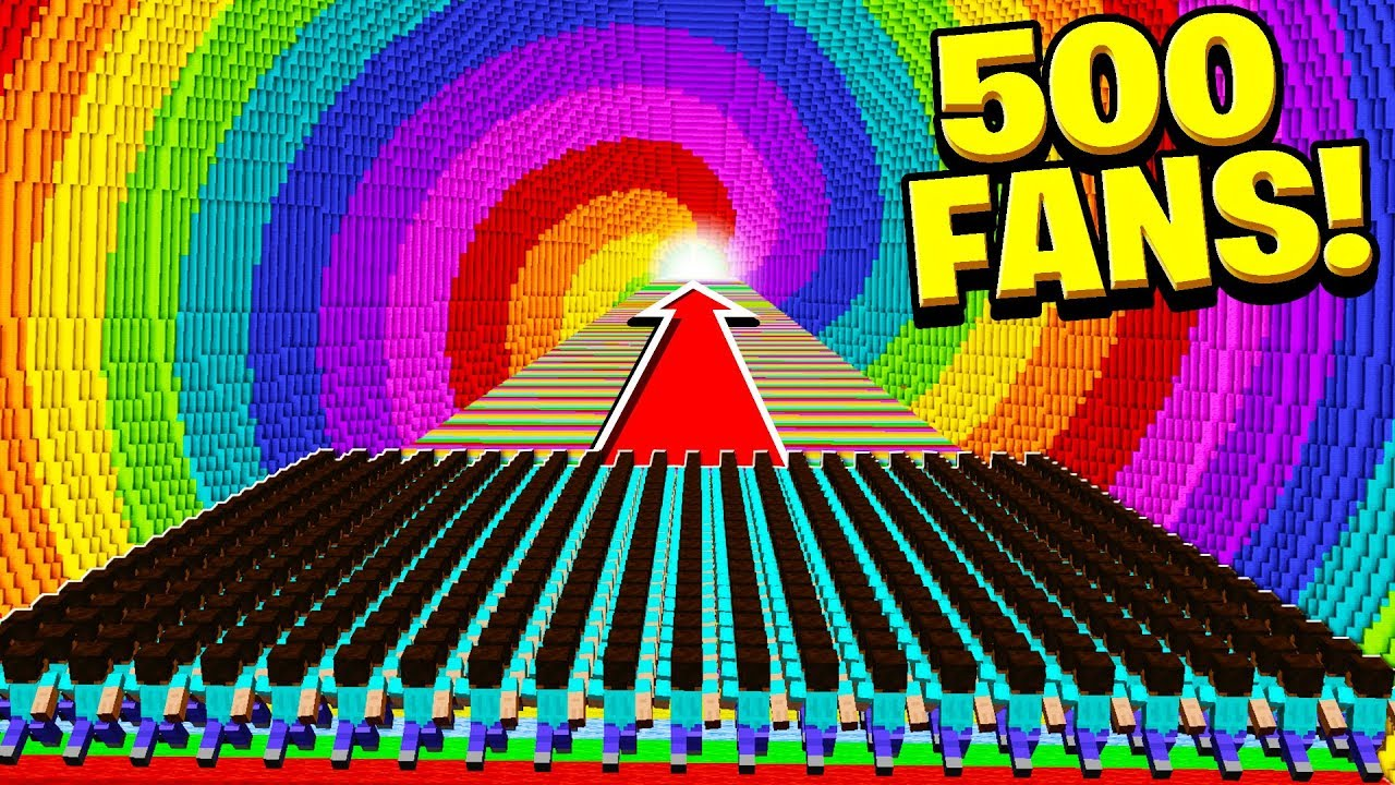500 FANS vs WORLD'S BIGGEST RAINBOW DROPPER!