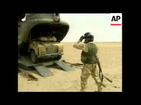 GWT: Chinook helicopter activity, Royal Marines in desert