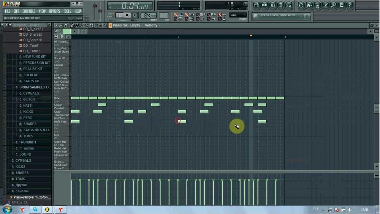 Как написать Бит в FL Studio используя FPC Snares Production - YouTube