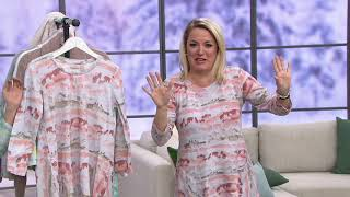 LOGO by Lori Goldstein Printed Cotton Slub Top with Side Flounce on QVC