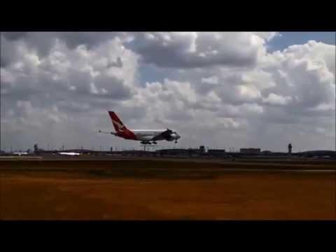QANTAS Airways A380-842 landing at Dallas/Ft. Worth International Airport (VH-OQJ)