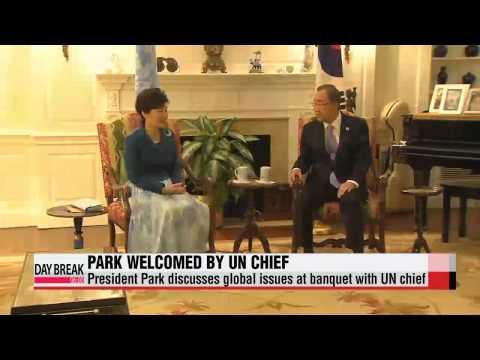 President Park Geun-hye welcomed by UN Secretary-General   박근혜 대통령, 반기문 유엔 사무총장