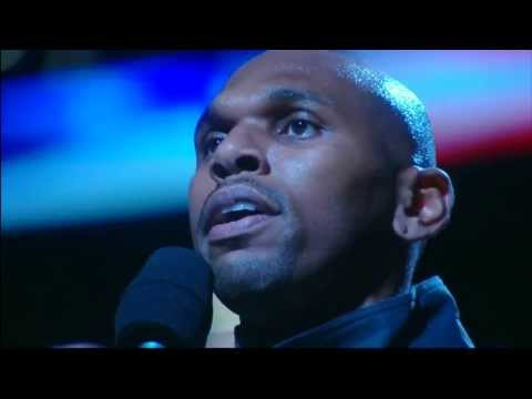 Jerry Stackhouse Sings National Anthem for Brooklyn Nets