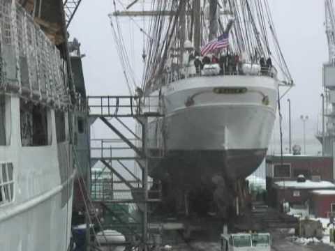 Coast Guard Tall Ship EAGLE repairs through time-lapse video