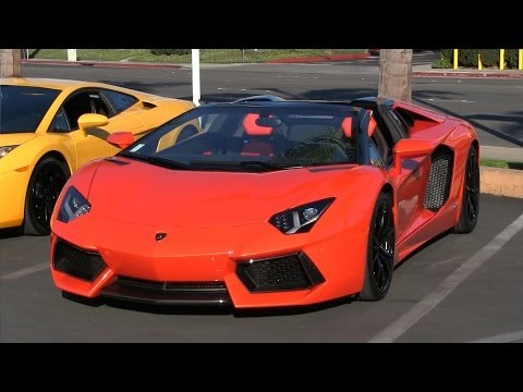 Supercar accelerations leaving Lamborghini Newport Beach!  Aventador, Murcielago, Ferrari & McLaren!