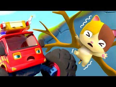 소방차가 미미를 구조해요|몬스터차동요|자동차동요|소방차동요|고양이가족|베이비버스 인기동요|BabyBus