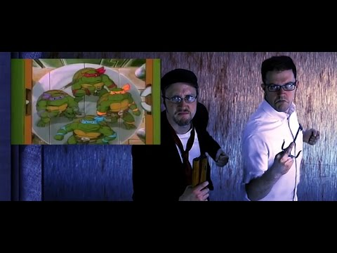 Side by Side TMNT Cartoon vs Nostalgia Critic Review Opening.