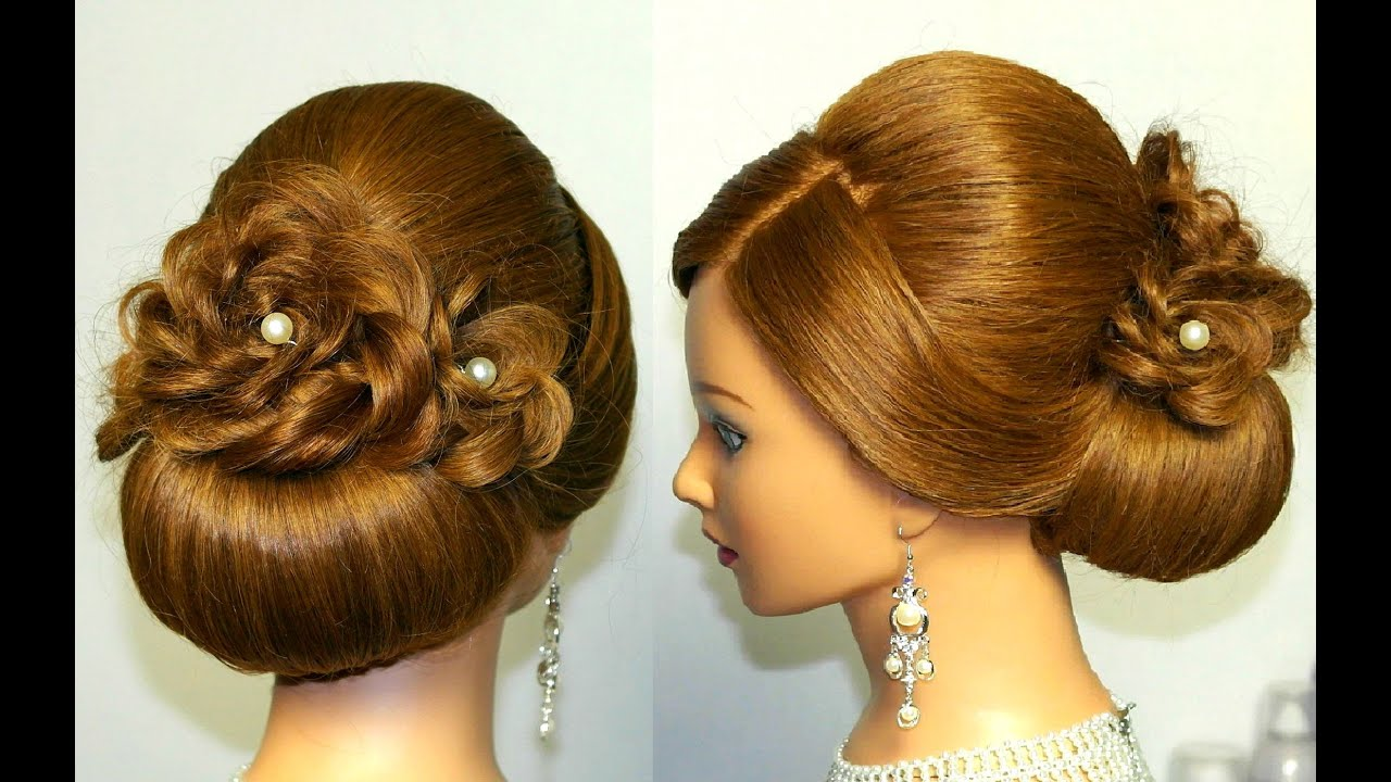 hairstyle for long hair, updo tutorial with braided flowers - YouTube