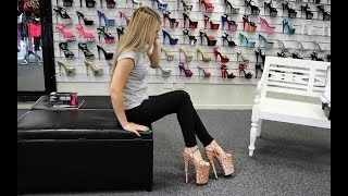 Unboxing Walking In Massive 9 Inch Pleaser Infinity Rose Gold Glitter High Heel Shoes