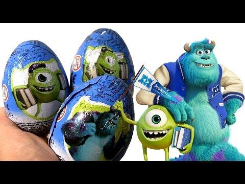 Disney Pixar Monsters University Surprise Eggs Zaini same as Kinder Huevos Sorpresa Mike & Sulley